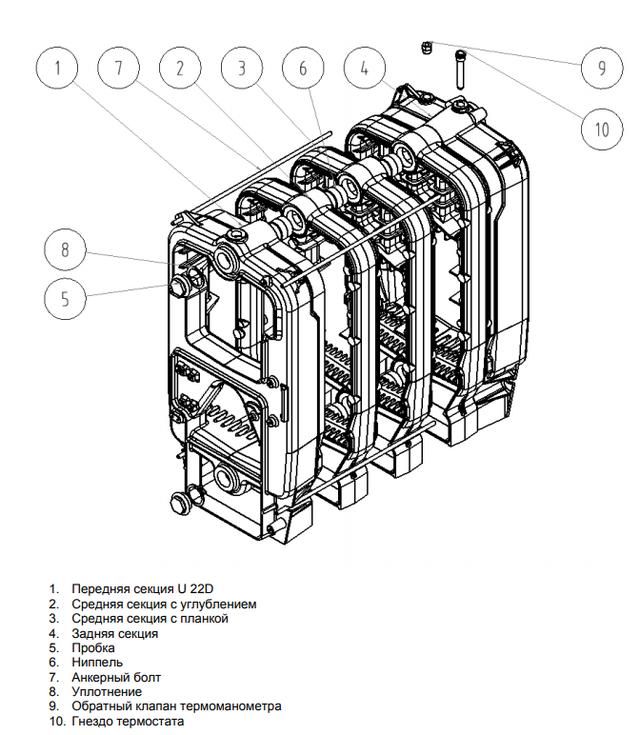 Чугунный твердотопливный котел Viadrus U22 D 3