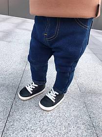 Штаны детские утепленные  на меху  для  мальчика синие 1-5 лет