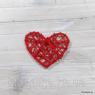 Сердечко из ротанга, 8×8 см, Цвет: Красный