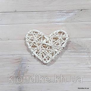 Сердечко из ротанга, 8×8 см, Цвет: Белый
