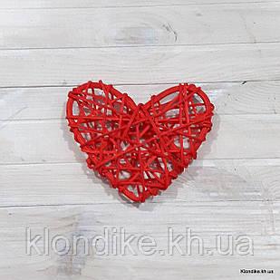 Сердечко из ротанга, 10×10 см, Цвет: Красный