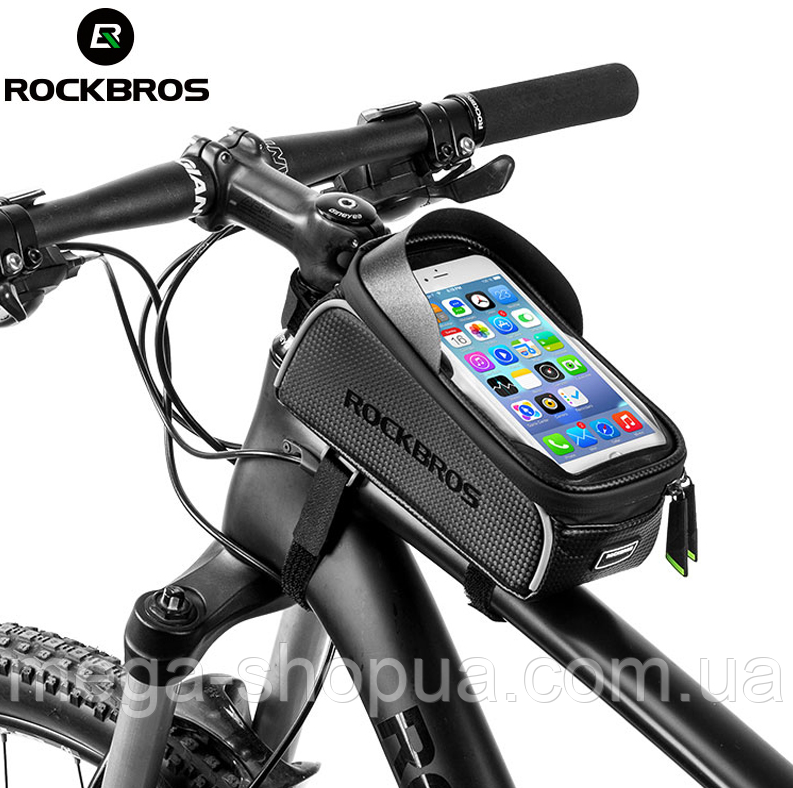 "Фирменная велосумка RockBros. Карман для смартфона Touch Screen до 6"". Вело сумка водонепроницаемая Black"