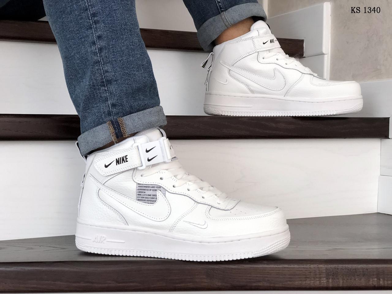 Мужские зимние кроссовки Nike Air Force 1 07 Mid LV8 (белые)