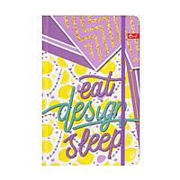 "Блокнот А5 на резинке, твёрдая обложка ""Eat design sleep"", клетка, 64 листа, ТП-67"