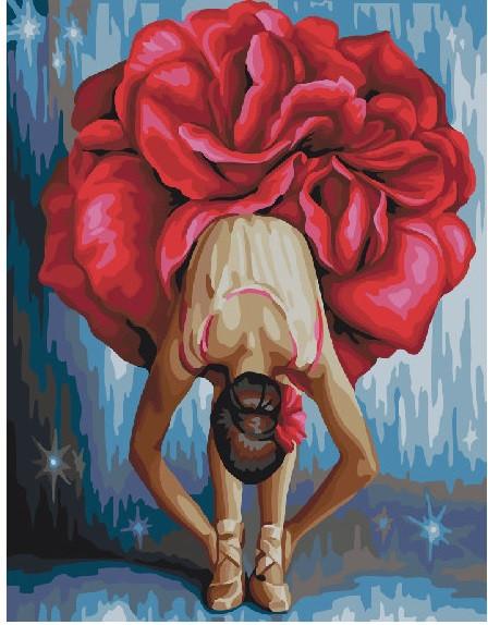 Картина по Номерам 40x50 см. Цветочная балерина BrushMe