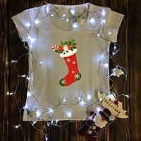 Женская футболка  с принтом - Рождественский носок