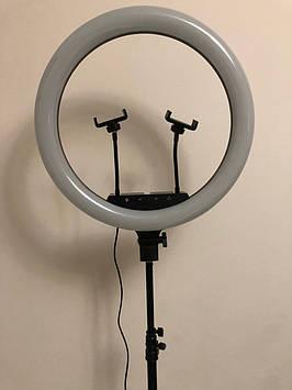 Профессиональная кольцевая LED лампа 45 cм  2Х с штатив-треногой для косметологии 60 ват выстота 230 см