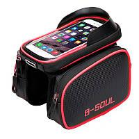 """Фирменная велосумка C2R Touch Screen карман для смартфона до 6"""". Сумка велобагажник для велосипеда Черная"""