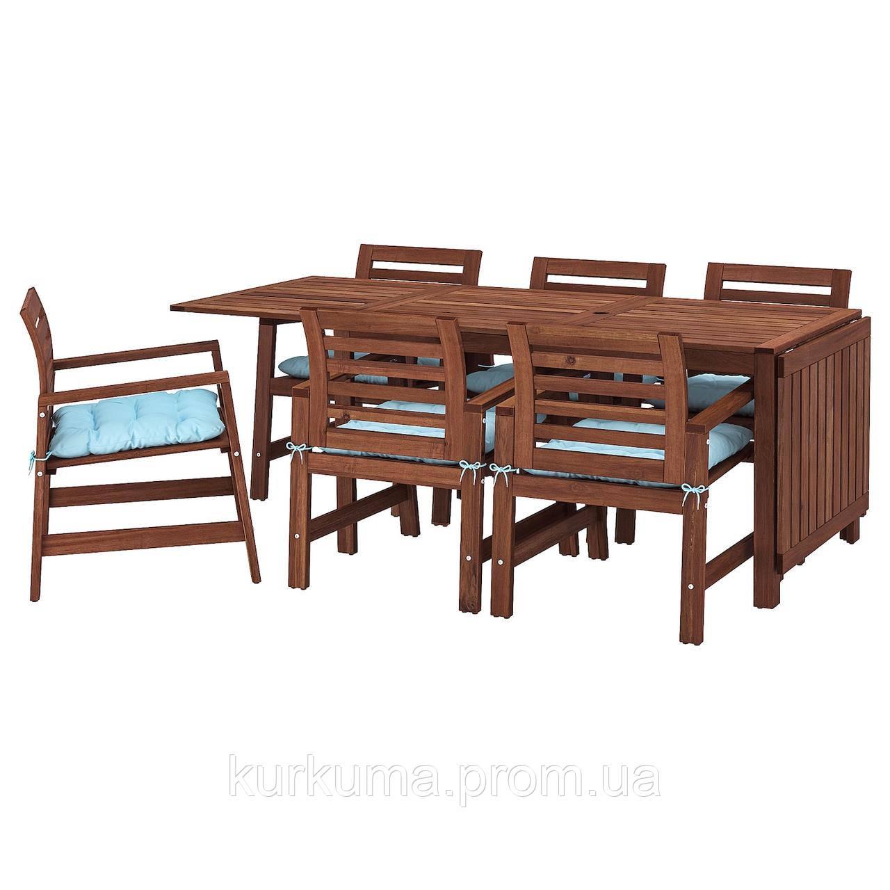 IKEA APPLARO Садовый стол и 6 стульев, коричневый окрашенных, (392.896.89)