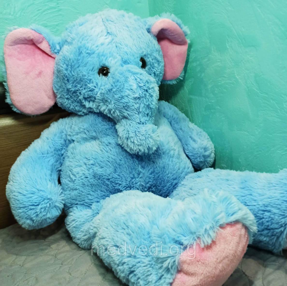 Плюшевая игрушка синий слон 80 см, мягкий подарок