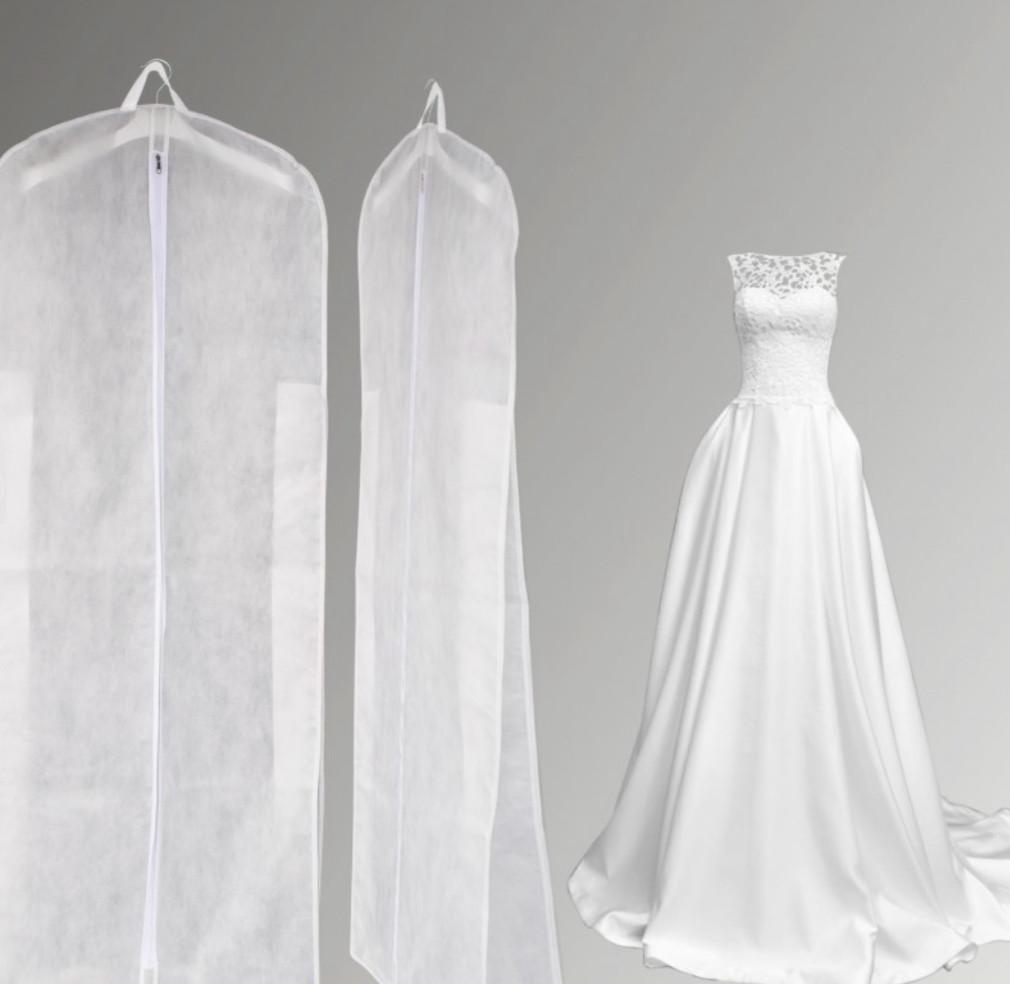 Чехол для одежды с клином на молнии белого цвета размер 60*170*20 см.
