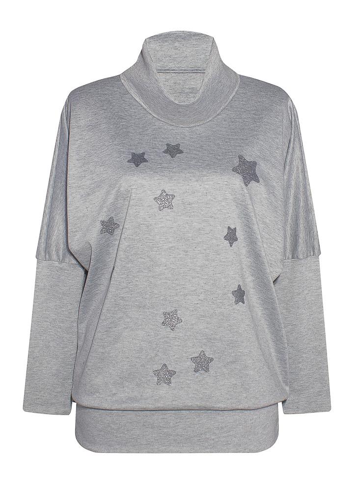 серая кофта Звезда из французского трикотажа