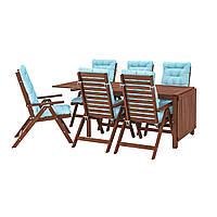 IKEA APPLARO Садовый стол и 6 раскладных стульев, коричневый (592.897.25), фото 1