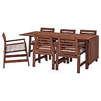 IKEA APPLARO Садовый стол и 6 стульев, коричневый окрашенных, Шадар (092.896.95), фото 1