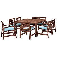 IKEA APPLARO Садовый стол и 6 стульев, коричневым окрашенным, (392.896.70), фото 1