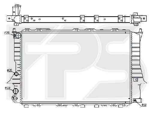 Радиатор охлаждения двигателя Audi 100 C4 1991-1994 2.0, 2.3, 2.5 TDI, 2.4 D (NRF)