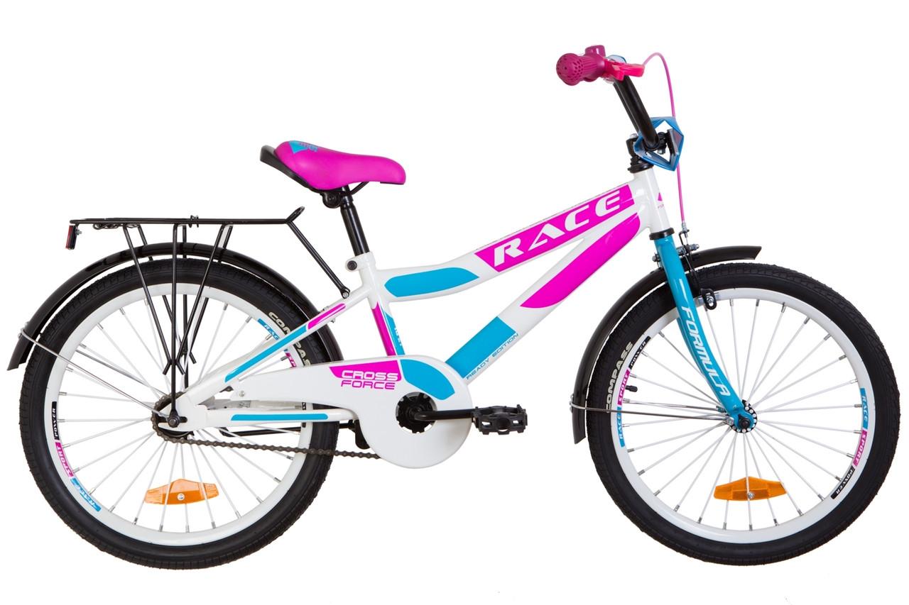 """Велосипед детский 20"""" Formula RACE CR 2019 (бело-розовый с голубым)"""