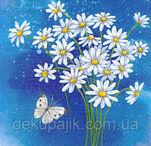 Декупажная салфетка Ромашки и бабочка 4983