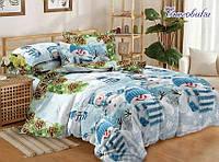 ✅  Семейный комплект однотонного постельного белья (Поплин) TAG Снеговики