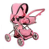 Коляска игровая для кукол-пупсов розовая, демисезонная