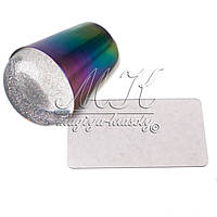 Силиконовый стемпинг штамп хамелеон в металле, с блестками