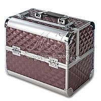 Профессиональный алюминиевый кейс для косметики, коричневый ромб, фото 1
