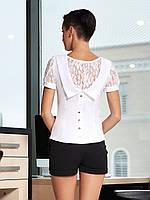 Блузка Грейс к/р белая приталенная с гипюровым рукавом и вставкой на спинке