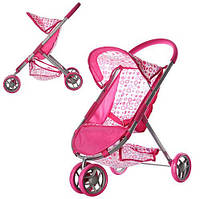 Коляска для куклы-пупсов розовая