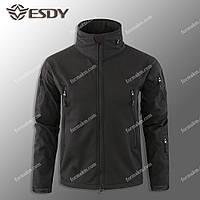 Тактическая куртка на флисе ESDY SoftShell Tactic Black, фото 1