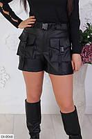 """Шорты женские кож-зам на флисе модель 519vl (40-42, 44-46, 48-50) """"VLADA"""" недорого от прямого поставщика"""