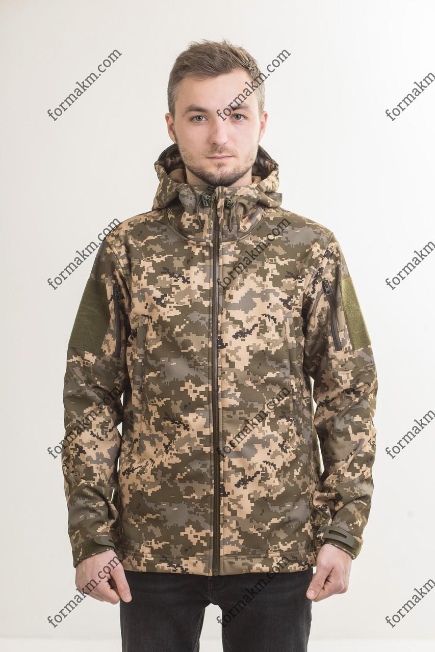Тактическая, Военная куртка на флисе SoftShell ЗСУ Пиксель ММ-14