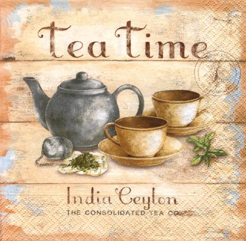 Редкая декупажная салфетка Время чая 4986