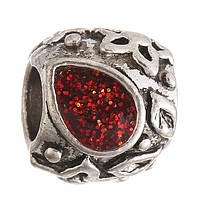 Бусина Pandora (Пандора) круглая с красным лепеском