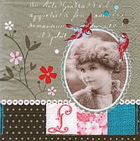 Декупажная салфетка Ретро портрет 4989