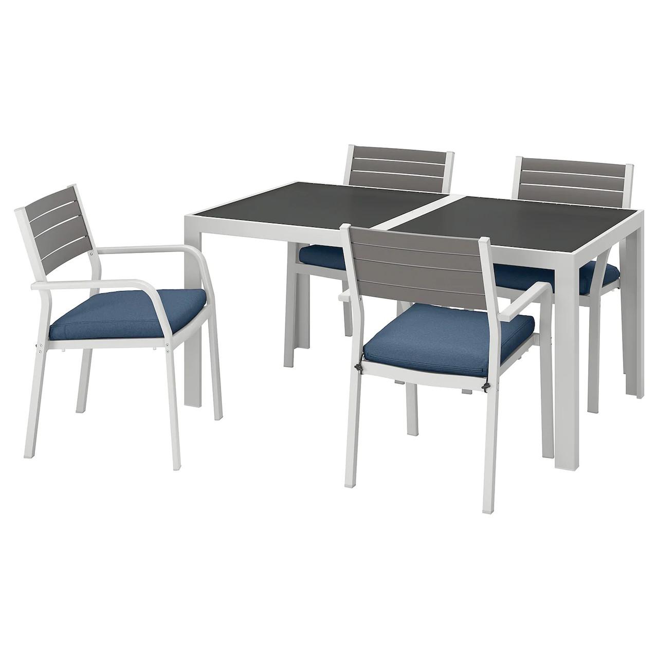Стол и 4 кресла SJALLAND стекло
