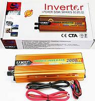 Преобразователь напряжения (инвертор) UKC SSK 2000Вт DC/AC 12В-220В, выход USB 5В