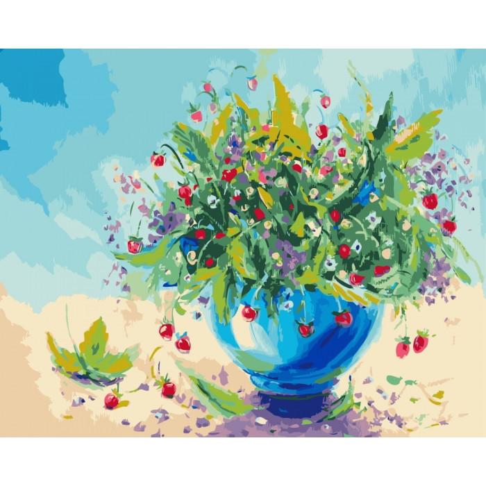 """Картина по номерам. Цветы """"Земляничный аромат"""" 40*50см KHO2935"""