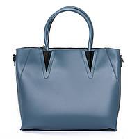 Красивая стильная сумка из натуральной кожи синего цвета (35*27*13 см) ALEX RAI, 010-1 8778-906 blue