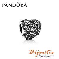 Pandora шарм Pave ЧЕРНОЕ СЕРДЦЕ ПАВЕ 791052NCK серебро 925 Пандора оригинал, фото 1