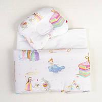 """Комплект белья для люльки новорожденных, три предмета """"Принцессы"""" цвет белый"""