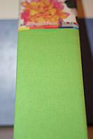 Бумага для творчества разноцветная гофрированная (крепированная) 2000*500мм. Цвет салатовый.