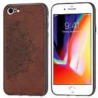 Чехол Embossed для Iphone 6 Plus / 6s Plus бампер накладка тканевый коричневый, фото 1