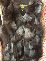 Меховой жилет лиса чернобурка 2 длины 5 цветов супер цена