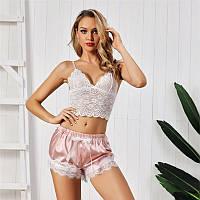 Женская атласная пижама Ajour: топ и шорты розовая