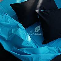 Однотонное бирюзово-черное постельное белье MDreams Евро 220х240