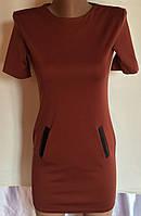 Подростковое платье базовое терракот(без карманов)