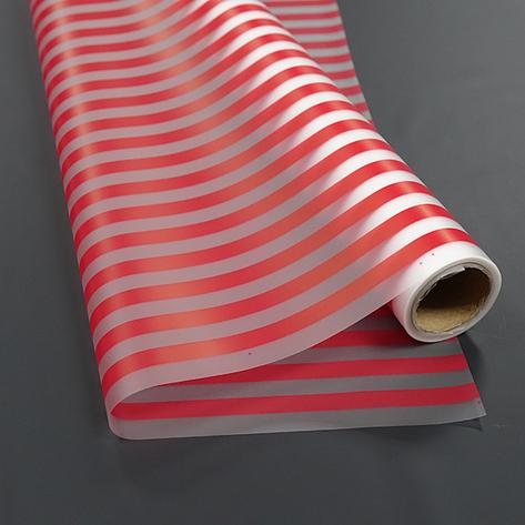 Плёнка матовая флористическая в красную полоску (10 м), фото 2