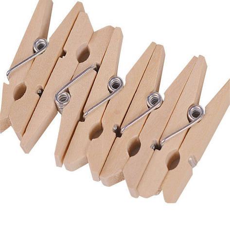Декоративные мини прищепки деревянного(древесного) цвета, Craft, клип, декор 3,5 см (50 шт.), 2й сорт, фото 2