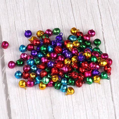 Маленькие колокольчики-бубенчики (50 шт.), разноцветные 0,8 см, фото 2