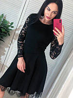 Красивое женское платье с кружевной спинкой, размеры: S, M, цвета - черный, бордовый, бутылка